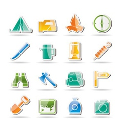 tourism and hiking icons vector image
