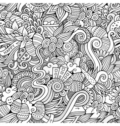 Easter doodles seamless pattern vector