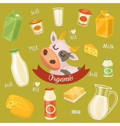 Dairy products on wooden table milk icon vector