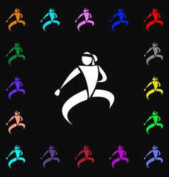 Karate kick icon sign lots of colorful symbols for vector