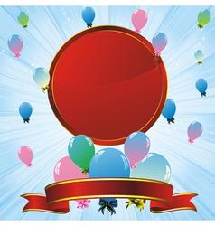 balloons label ribbon vector image