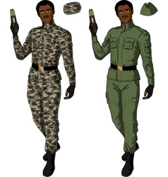 African male in green khaki holds taser vector