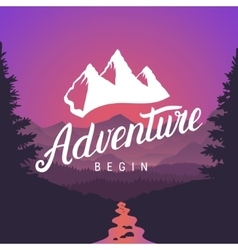 Adventure logo lettering calligraphy outdoor vector