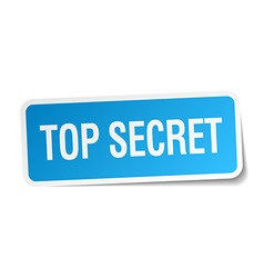 Top secret blue square sticker isolated on white vector