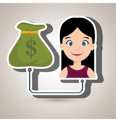 Woman and bag money isolated icon design vector