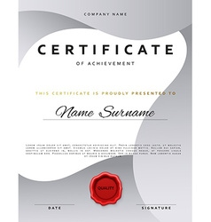 Template certificate design in silver color vector