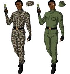 African male in green khaki holds taser vector