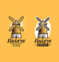 Bakery bread pastry logo or label mill vector