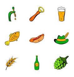 Beer celebration icons set cartoon style vector