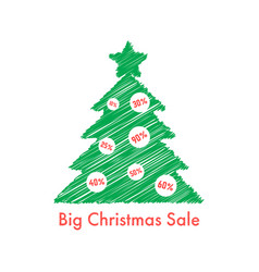 big christmas sale with scribble fir tree vector image