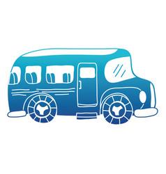 blue silhouette vehicle school bus education vector image vector image