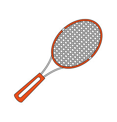 Color silhouette cartoon tennis racquet with vector