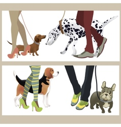 Cute dogs with their owners vector