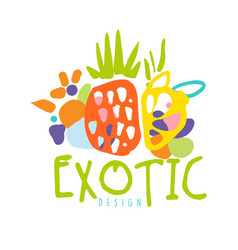 Exotic logo design with tropical fruits colorful vector