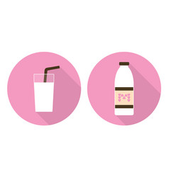 Flat milk glass and milk bottle vector