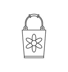 Garden bucket icon outline style vector image