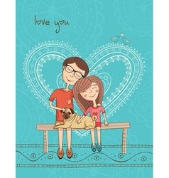 girl and boy with mops and heart vector image vector image