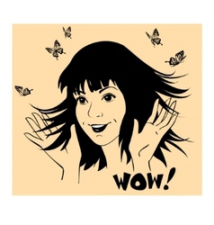 Girl with butterflies around are waving hands vector