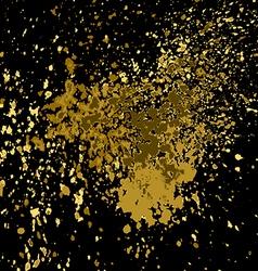 Gold paint splash splatter and blob shiny on black vector