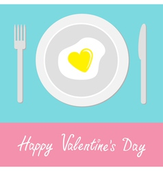 Heart-shaped fried egg Happy Valentines Day vector image vector image
