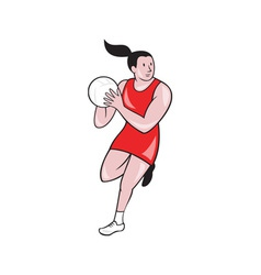 Netball player catching ball isolated cartoon vector