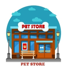 Pet store and shop for animal care building vector
