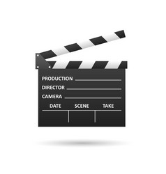 Realistic cinema clapper isolated on white vector