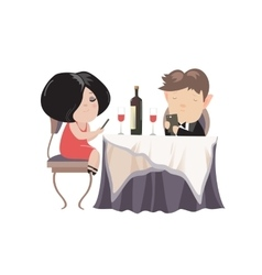 Romantic couple dinner looking at their smart vector