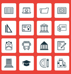 Set of 16 school icons includes certificate vector