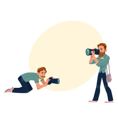 set of cartoon photographers at work vector image