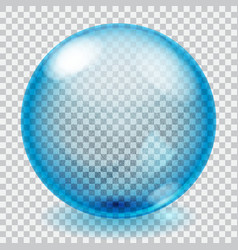 Transparent blue glass sphere with scratches vector