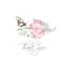 tulip butterfly thank you card vector image vector image
