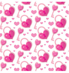 valentines day seamless pattern heart key and vector image vector image