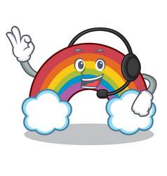 with headphone colorful rainbow character cartoon vector image