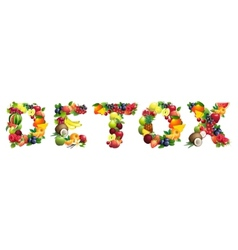 Word DETOX composed of different fruits with vector image