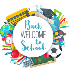 Back to school round banner vector