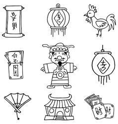 Hand draw of chinese celebration element doodles vector