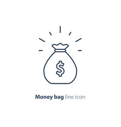 sack of money finance saving award prize mono line vector image