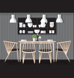 Dinner room design vector