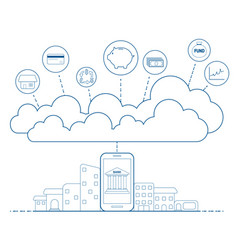 Mobile banking concept with cloud technology vector