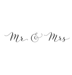 Mr and mrs words with ampersand mister and missis vector