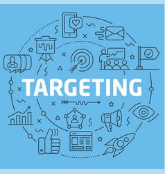 blue line flat circle targeting vector image