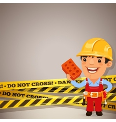 Builder with danger tapes vector