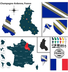Map of champagne ardenne vector