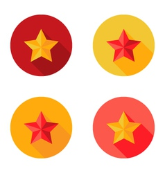 Christmas yellow and red star flat set circle icon vector