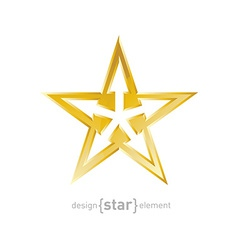 Abstract gold star with arrows on white background vector