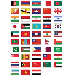 Flag set of all asian countries vector