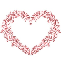 Embroidery inspired heart shape in white with vector