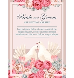Wedding invitation with white doves vector