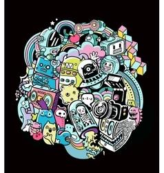 Doodle robots doodle robot element vector image